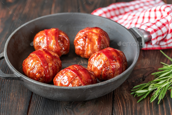 Bacon wrapped meatballs - Stock Photo - Images