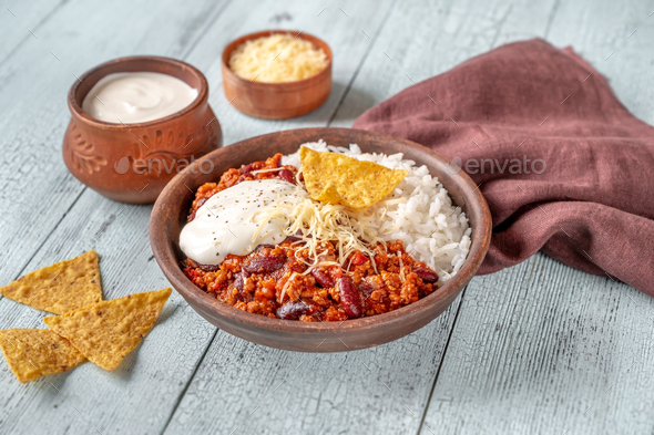 Chili con carne served with white rice - Stock Photo - Images