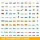 100 Transport Icons Set Cartoon Style