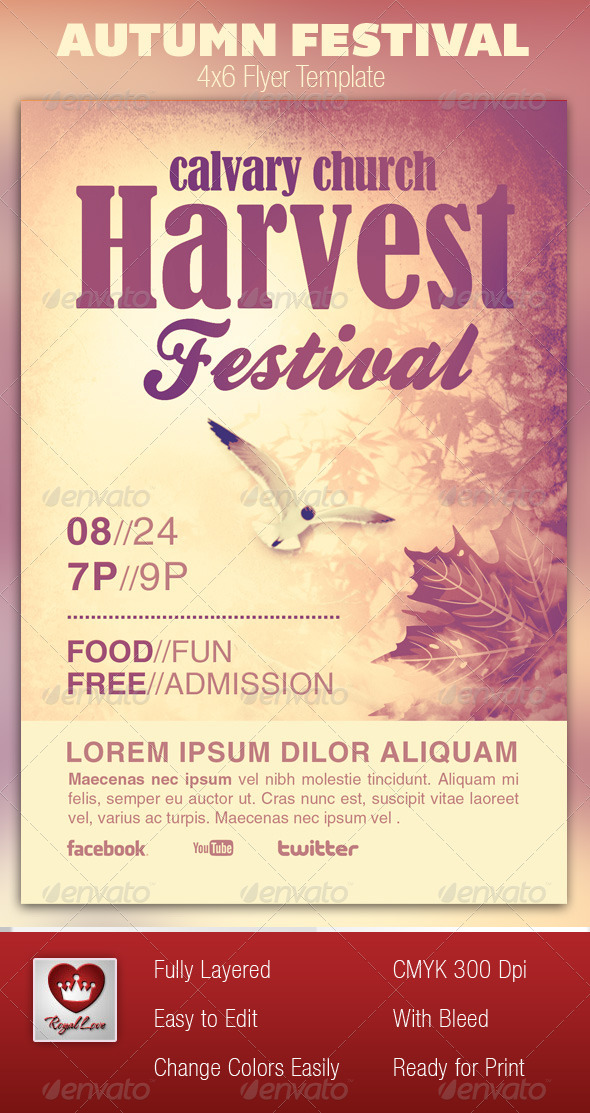 Autumn festival church flyer template by royallove for Religious flyers template free