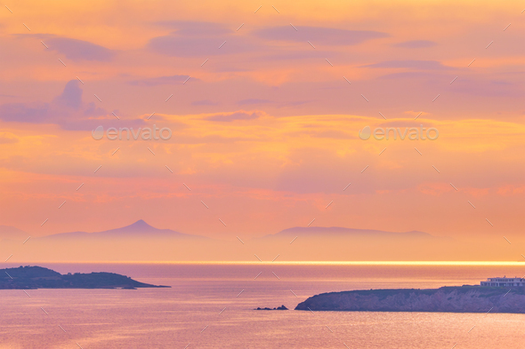 Aegean Sea with islands view on sunset - Stock Photo - Images