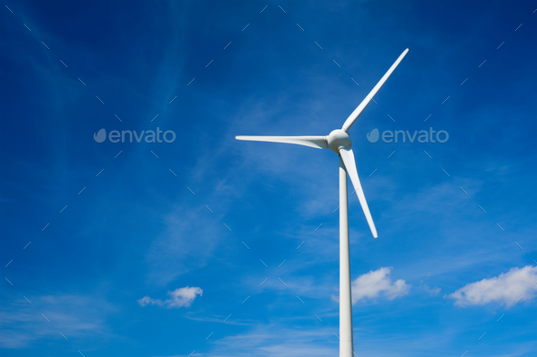Wind generator turbines in sky - Stock Photo - Images