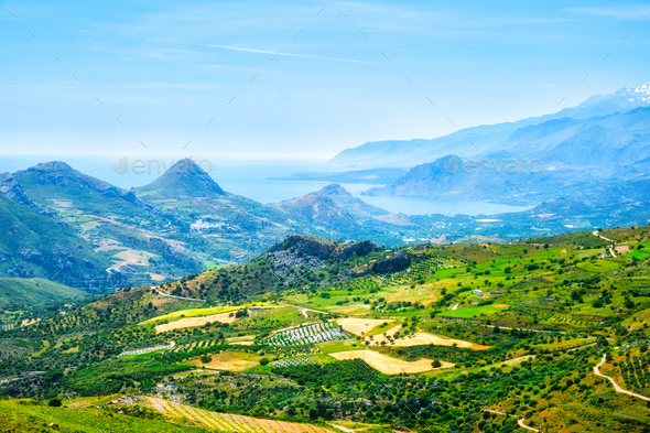 Aerial view of Crete island in Greece - Stock Photo - Images
