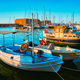 Venetian Fort in Heraklion and moored fishing boats, Crete Island, Greece - PhotoDune Item for Sale