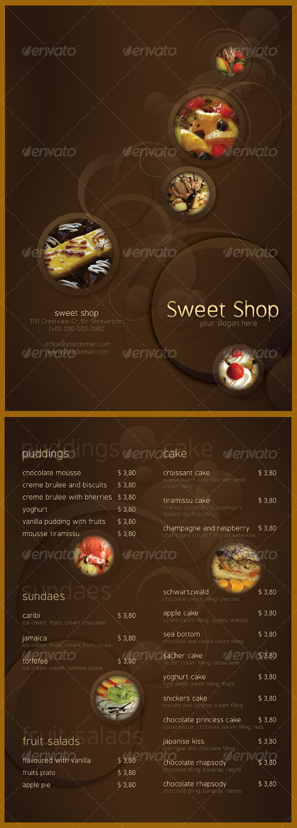 Sweet Shop Menu - Food Menus Print Templates