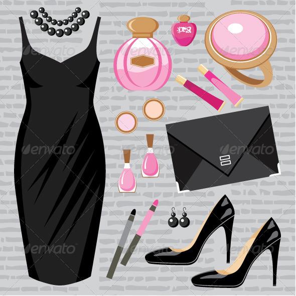 Fashion set with a cocktail dress - Conceptual Vectors