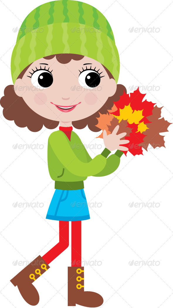 Little girl with autumn leaves - People Characters