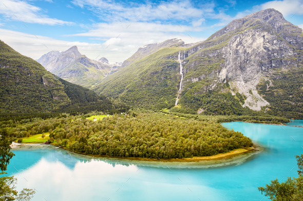 Lake Lovatnet in Norway - Stock Photo - Images