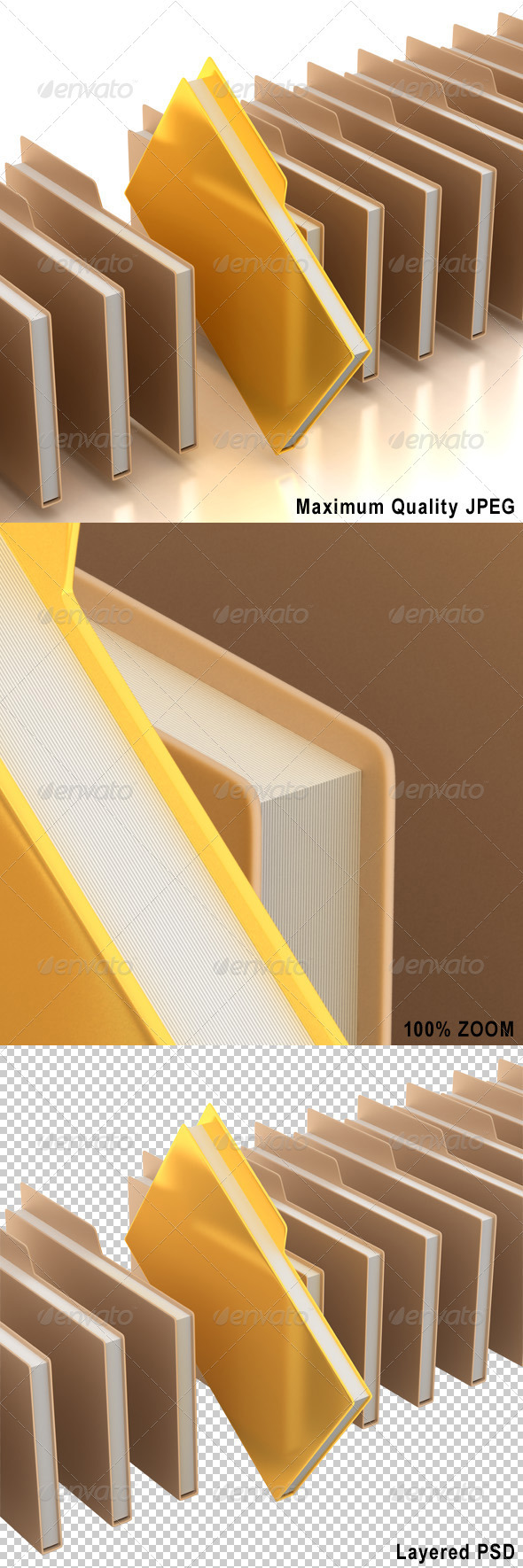 Document Folders with One Golden Folder - Business Backgrounds