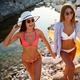 Women, friend having fun on the beach on summer vacation - PhotoDune Item for Sale