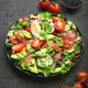 Fresh salad with salted salmon, avocado, egg, sesame seeds, olive oil, tomatoes and mixed herbs - PhotoDune Item for Sale