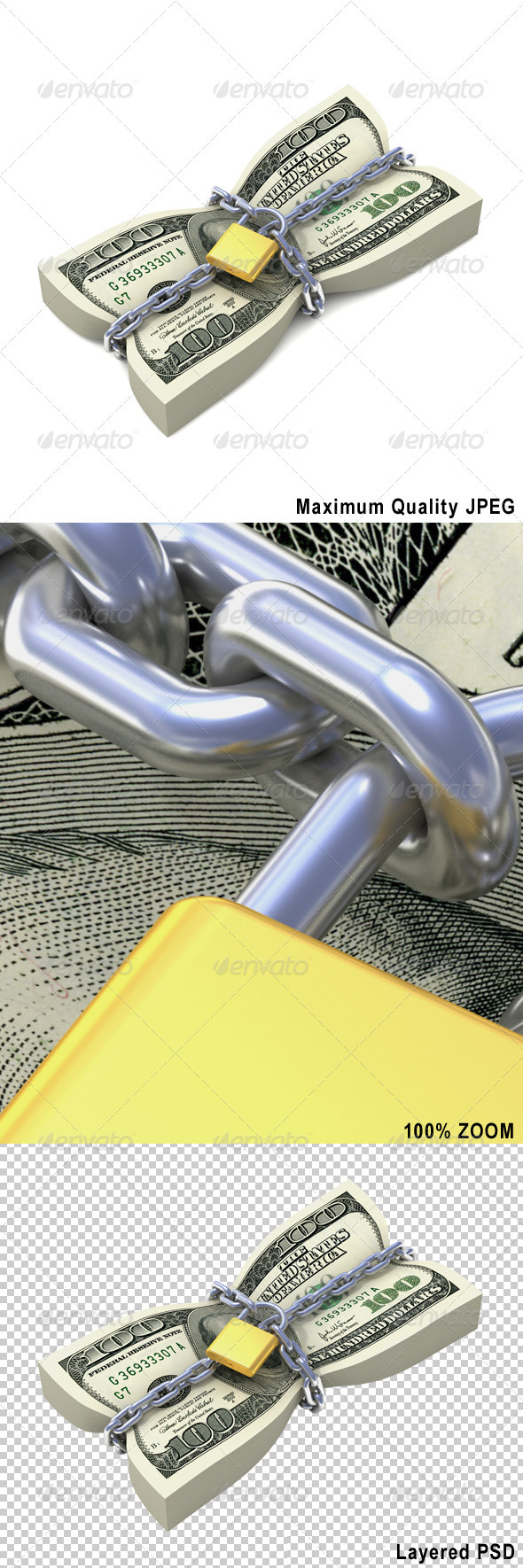 Dollar Stack Tied by Chains - Business Backgrounds