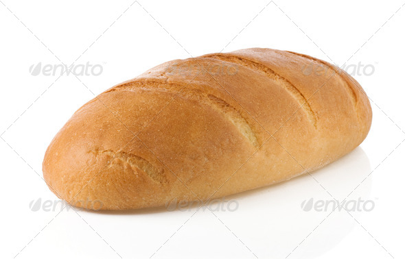 french bread  isolated on white - Stock Photo - Images