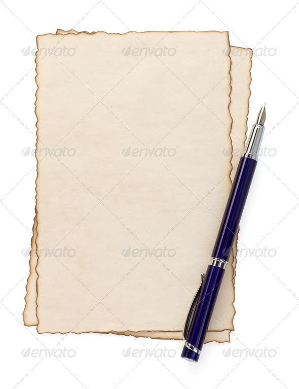 pen on parchment isolated at white - Stock Photo - Images