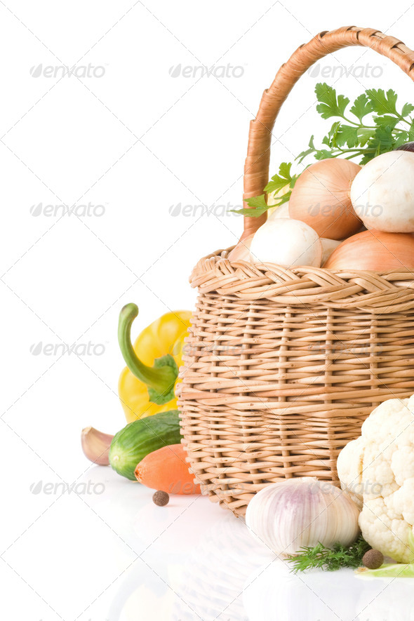 fresh vegetable food and spices on white - Stock Photo - Images
