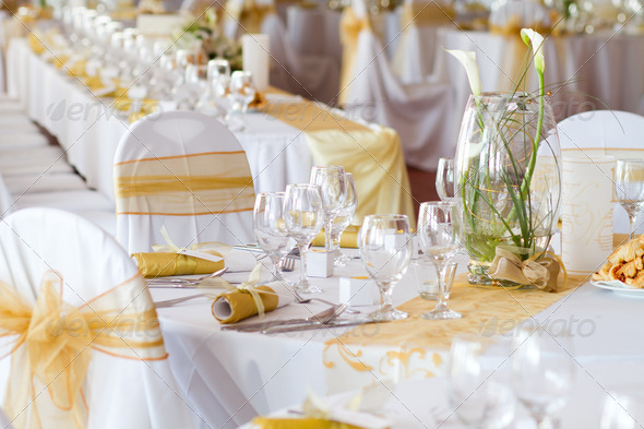 table set for an event party - Stock Photo - Images