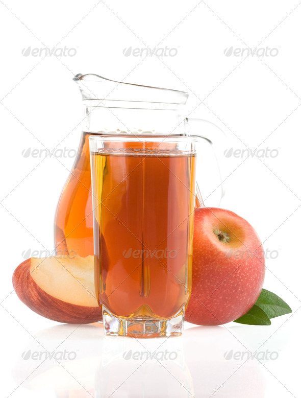 apple juice in glass  isolated on white - Stock Photo - Images