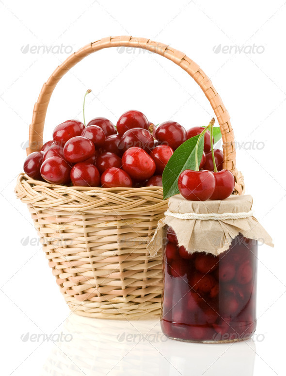 cherry jam isolated on white - Stock Photo - Images