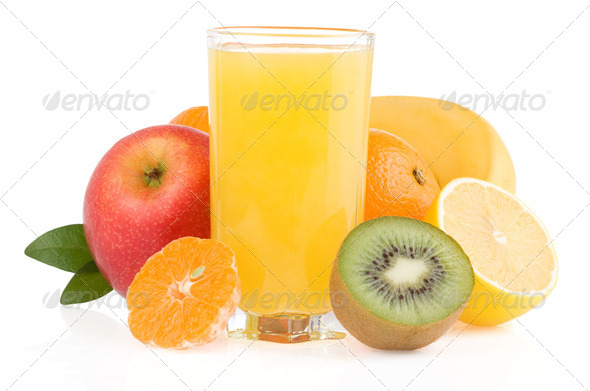 fresh tropical fruits and juice - Stock Photo - Images