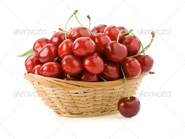 sweet cherry in bowl isolated on white - Stock Photo - Images