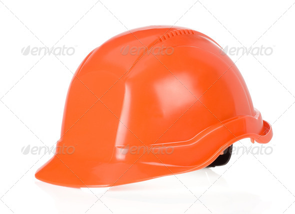construction worker helmet on white - Stock Photo - Images