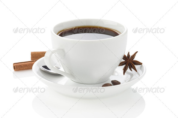 coffee with spices and beans on white - Stock Photo - Images