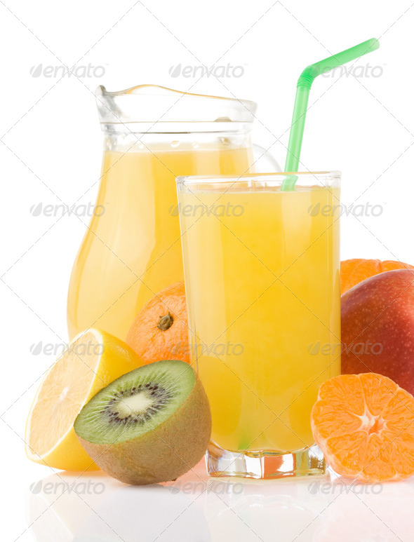 tropical fruits set and juice on white - Stock Photo - Images