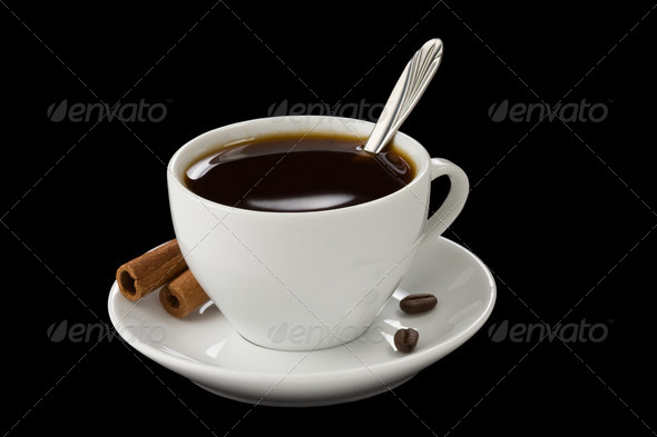 cup of coffee isolated on black - Stock Photo - Images