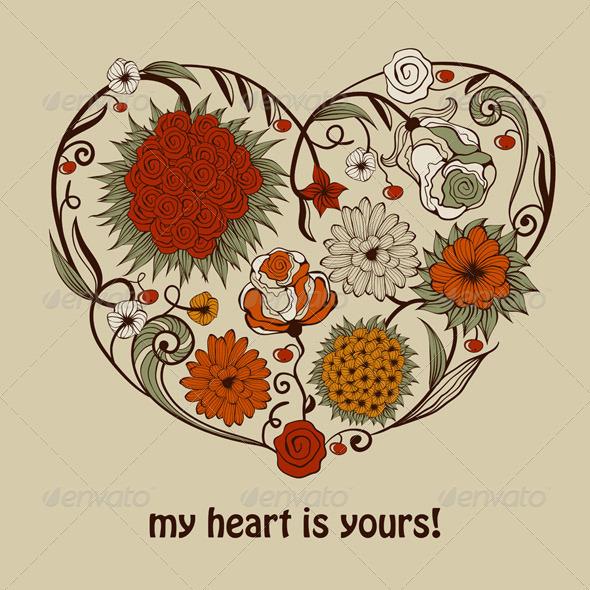 Vector Valentine's Greeting Card - Decorative Symbols Decorative