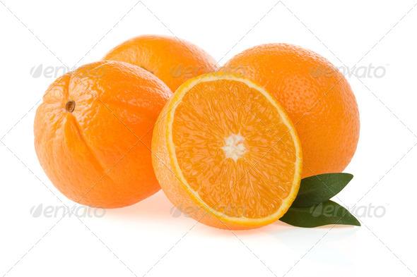 orange fruit and slices - Stock Photo - Images