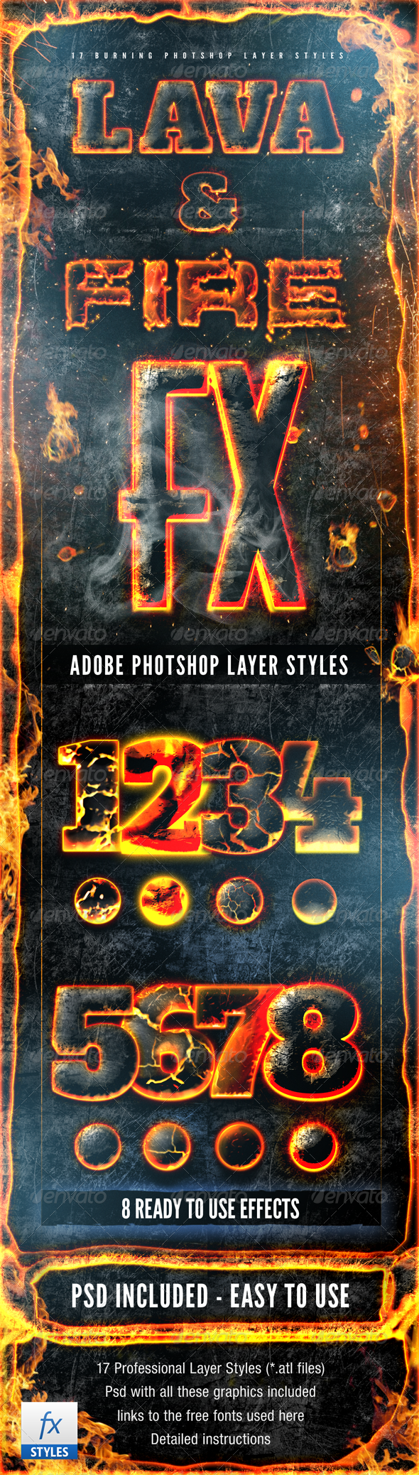 Hot Lava and Fire Layer Styles Pack Fx - Text Effects Styles