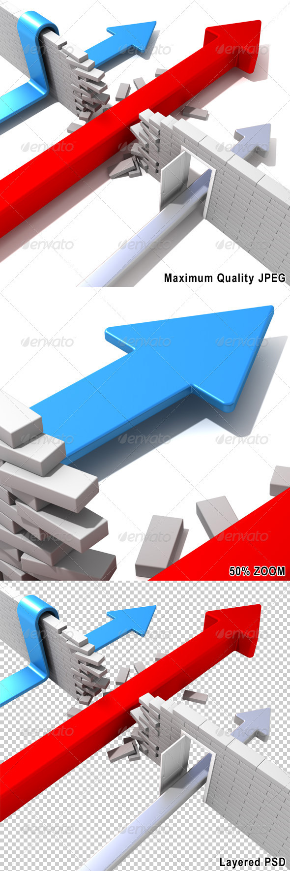 Arrows Breaking Wall - Abstract 3D Renders