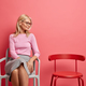 Horizontal shot of good looking middle aged woman feels lonely at home focused at empty chair has la - PhotoDune Item for Sale