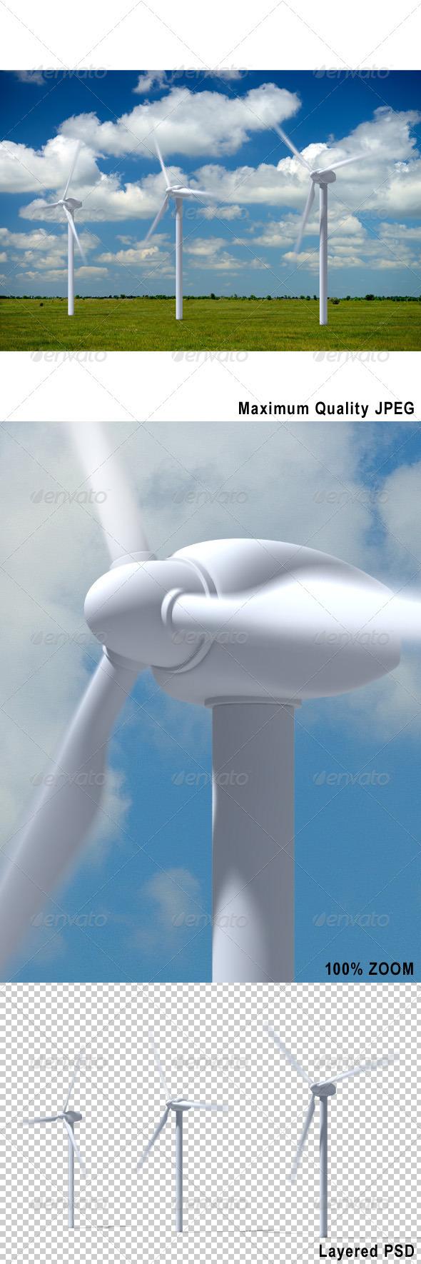Wind Turbines on Summer Landscape - Technology 3D Renders