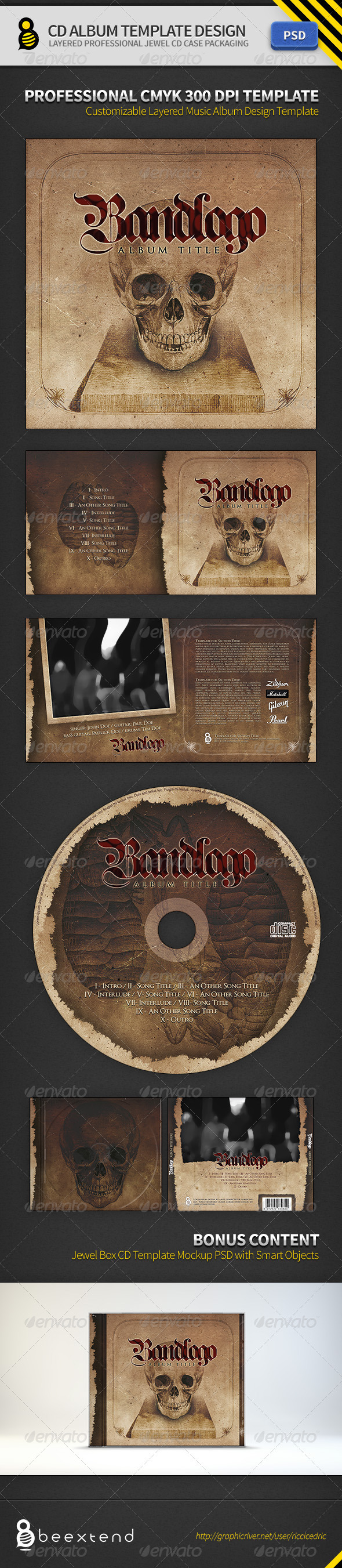 CD Album Template Design - CD & DVD Artwork Print Templates