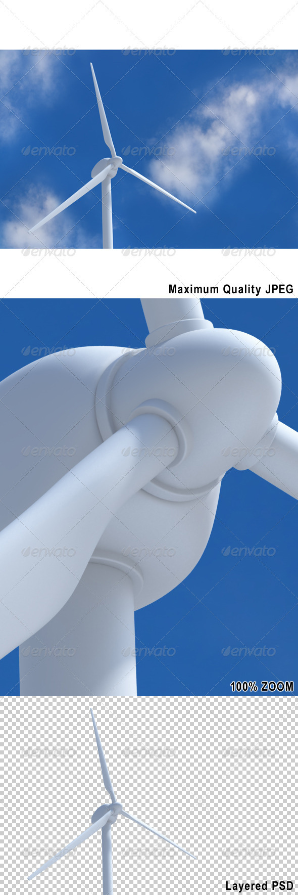 Wind Turbine on Blue Sky - Technology 3D Renders