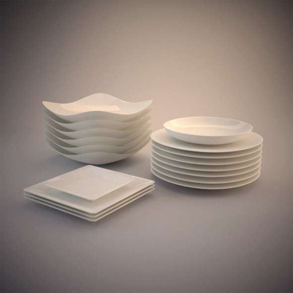 6 Photorealistics Ceramic dishes - 3DOcean Item for Sale