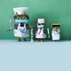 Robots doctors with surgical masks, stethoscopes and syringe blood test, vaccine and pills tube. - PhotoDune Item for Sale