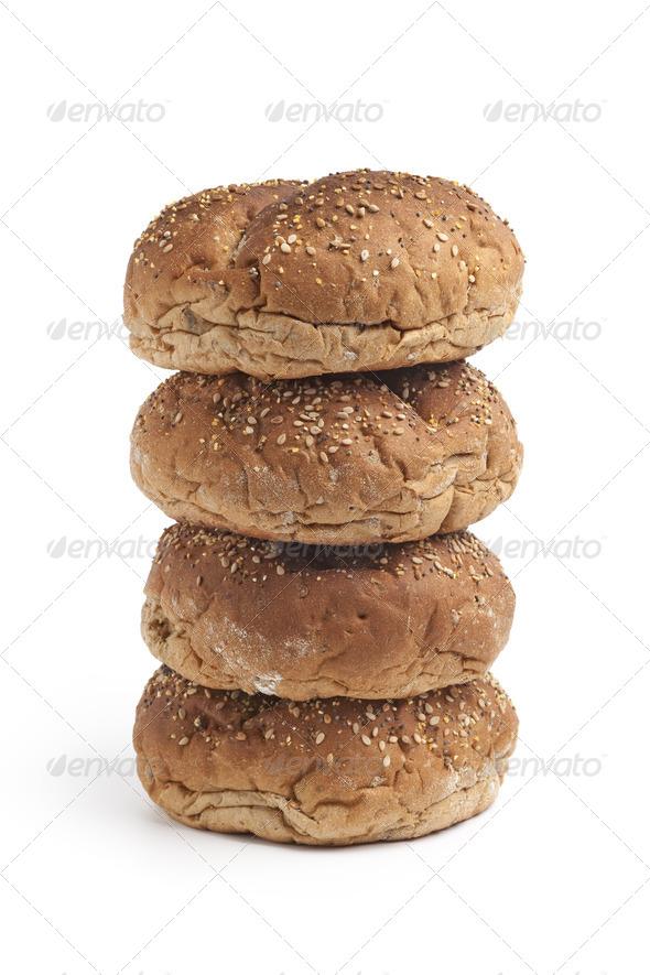 Fresh Multi grain bread rolls on a pile - Stock Photo - Images
