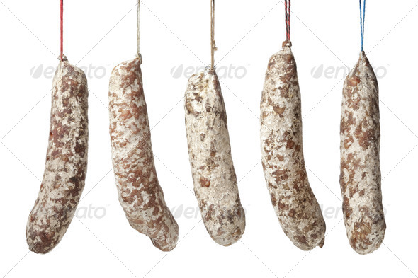 French Sausages hanging on a string - Stock Photo - Images