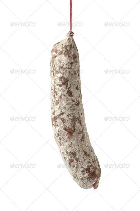 French Sausage hanging on a string - Stock Photo - Images