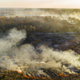 Aerial view of wildfire on the field. Huge clouds of smoke - PhotoDune Item for Sale