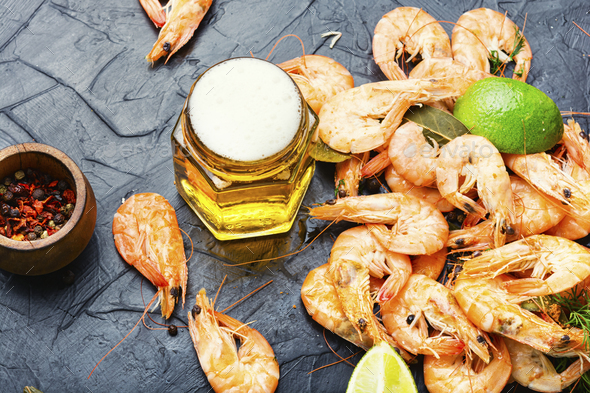 Boiled shrimp and fresh beer - Stock Photo - Images