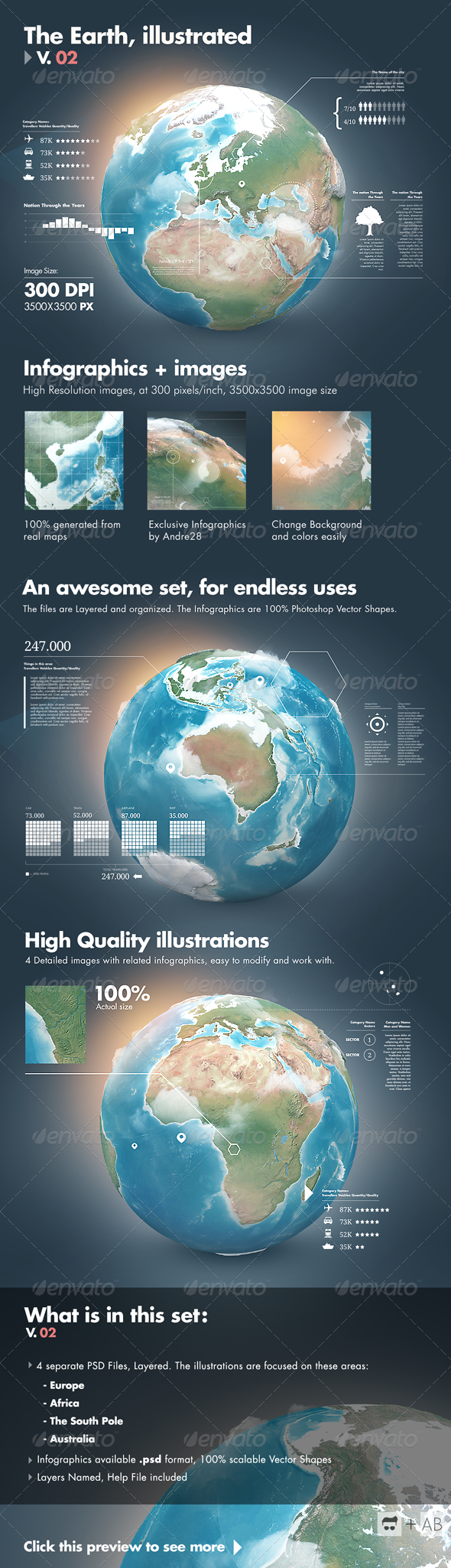 Earth Illustrated, 3D World and Infographics - V2  - Infographics