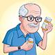 Elderly Man Looking At Medication Bottle