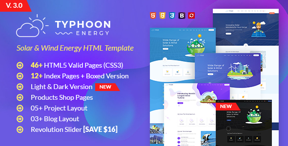 Typhoon - Solar & wind Energy HTML Template