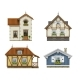 Set of Classic Vintage House Facades Isolated