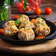 Baked mushrooms stuffed with chicken minced meat, cheese and herbs on a wooden background - PhotoDune Item for Sale