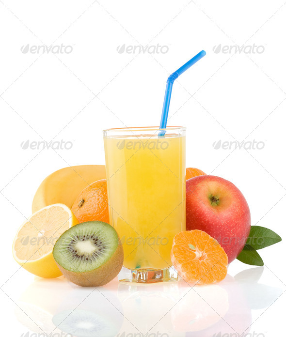 fresh tropical fruits and juice on white - Stock Photo - Images