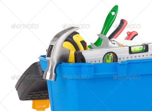 kit of construction tools in box - Stock Photo - Images